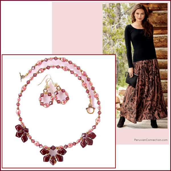 Lotus: Oxblood Necklace Set