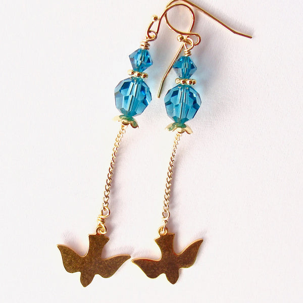 teal crystal earrings