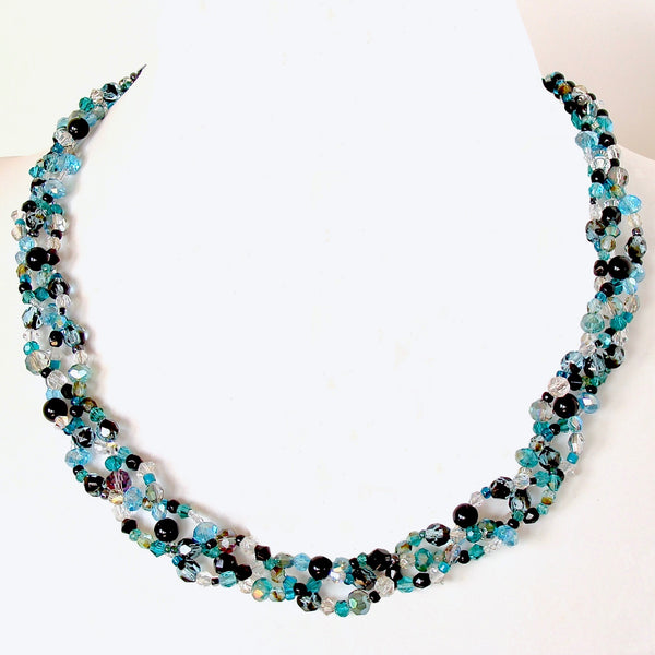 teal crystal necklace