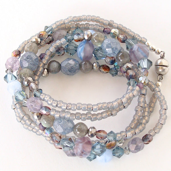 wrap bracelet in blue and purple