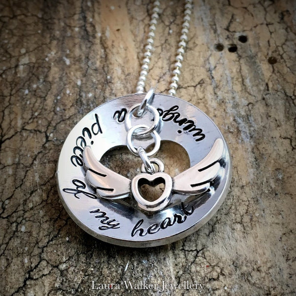 Hand Stamped Memorial Necklace ' A piece of my heart has wings'