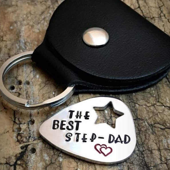 Hand Stamped Guitar Pick Step Dad