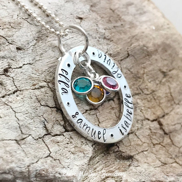 Birthstone Name Washer Necklace