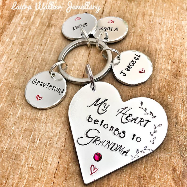 My Heart Belongs to Grandma Keychain
