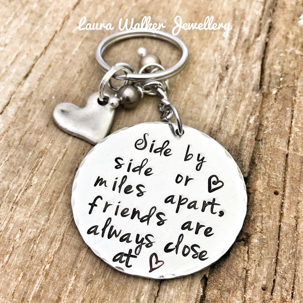 Best Friends Keychain, Stamped Keychain, Metal Keyring Keychain, Gift for Long Distance Friend