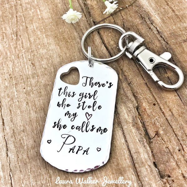 Keychain Papa 'Theres this Girl who stole my heart'