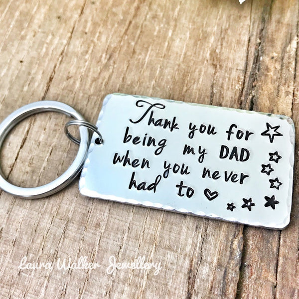 Step Father Keychain 'Thank you for being my Dad'