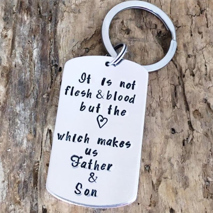 Keychain for Step-Father 'Not Flesh & Blood'