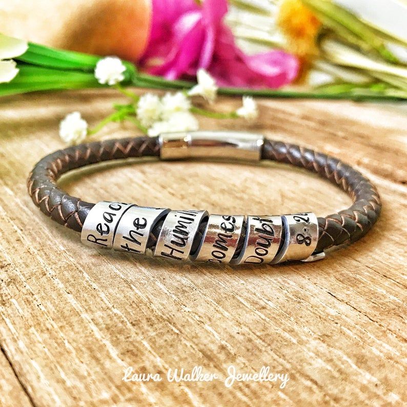 Mens Scroll Bracelet, Mens Secret Message Leather Bracelet