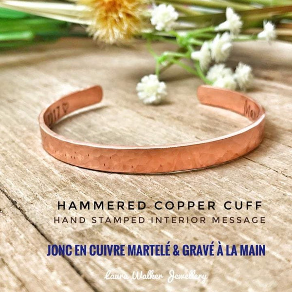Copper Cuff Bracelet, Hammered Copper Cuff, Stamped Copper Bangle, Personalised Copper Cuff