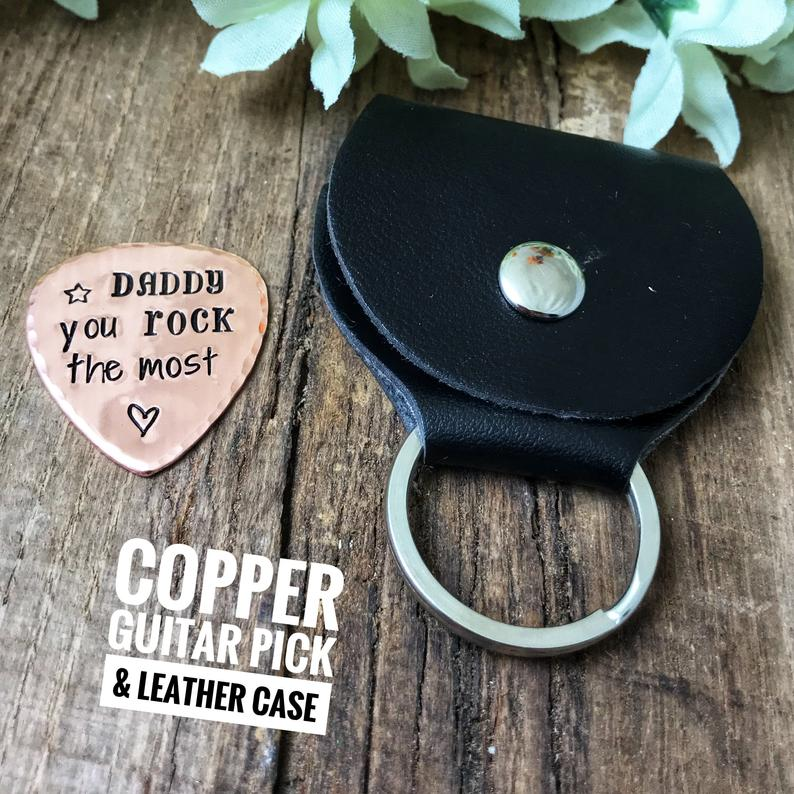 Copper Guitar Pick, 'Daddy You Rock the Most'