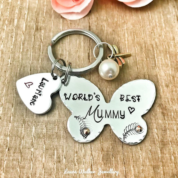 World's Best Mummy Keyring 'Butterfly'