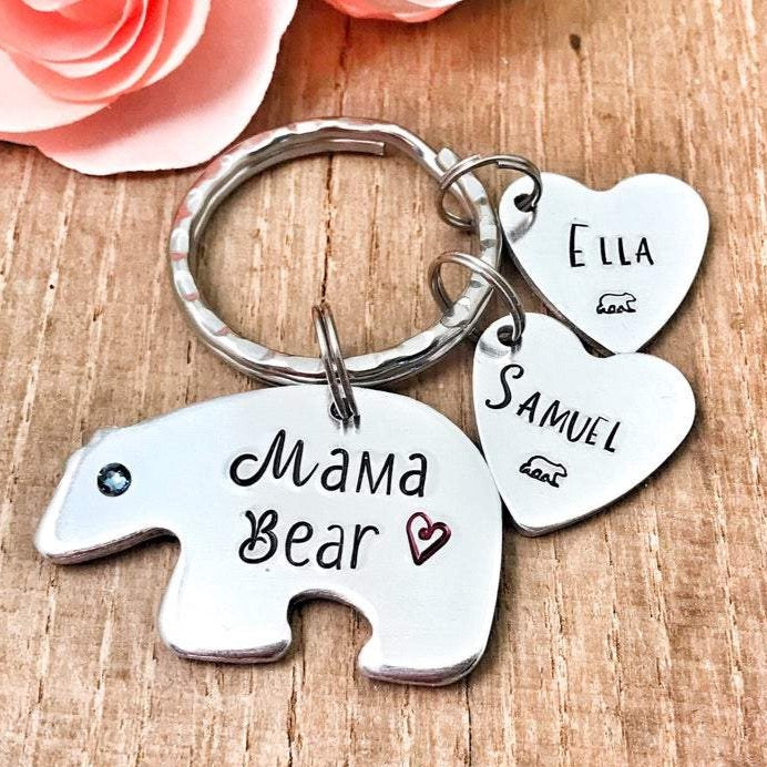 Mama Bear Stamped Keychain