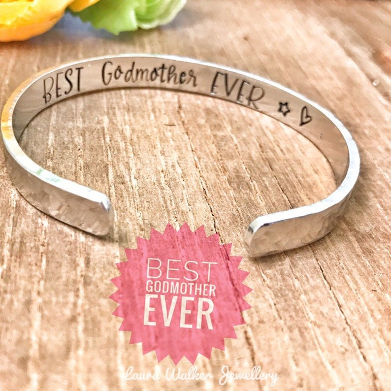 Godmother Cuff Bracelet, Stamped Cuff 'Best Godmother Ever'
