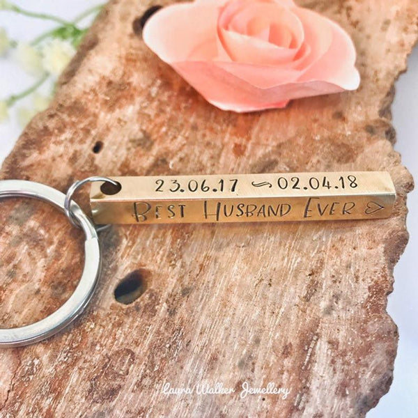Brass Bar Keychain, Hand Stamped Brass Bar