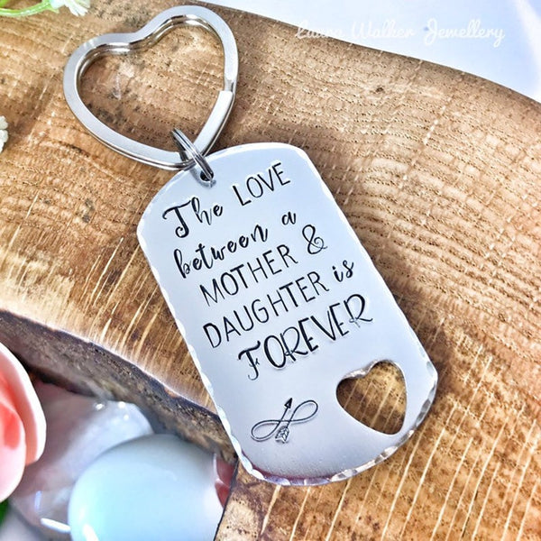 Hand Stamped Keychain 'The Love between a Mother & Daughter'