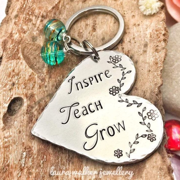 Teacher Keychain, 'Inspire, Teach, Grow'