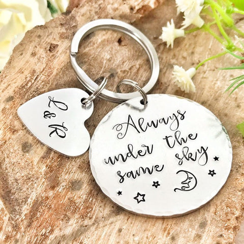 Always Under the Same Sky,Long Distance Relationship, Deployment Keychain