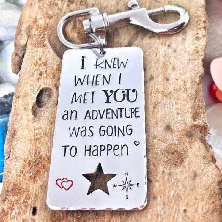 Adventure Keychain, New Start Keychain, Relationship Keyring, Winnie Pooh Quote, New Adventure Gift