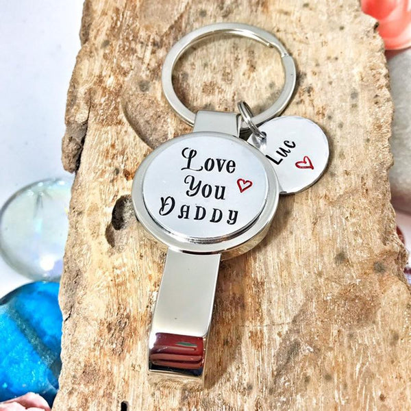 Hand Stamped Bottle Opener 'I Love You Daddy'