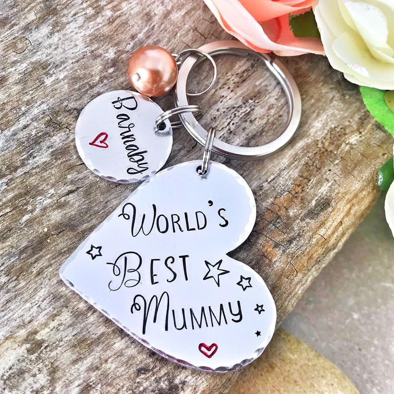 Hand Stamped Keychain Mummy, Mum, Gran 'The World's Best'