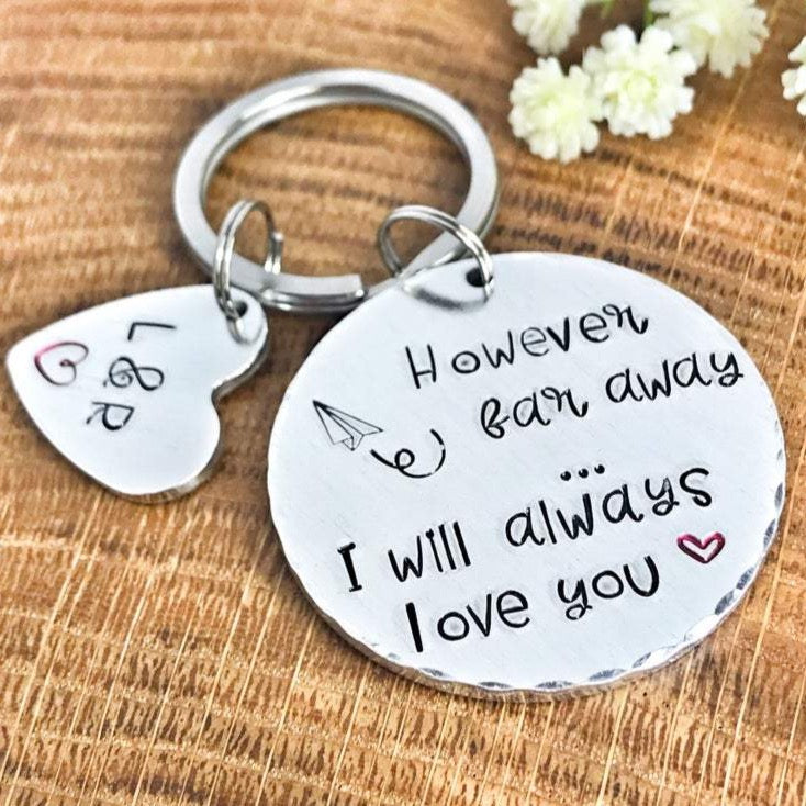 Long Distance Relationship Keychain, Deployment Keychain, 'However Far Away'