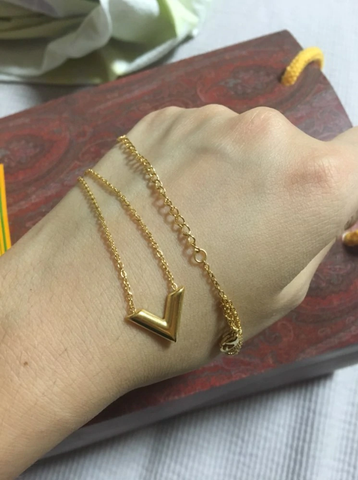 Essential V Gold Long Chain Necklace LV Louis Vuitton Style Designer Inspired Brand Luxury Replica Copy Gold