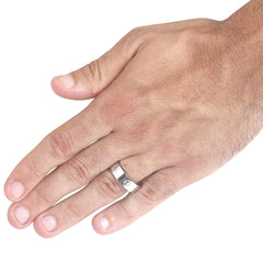 Mens Silver Titanium Love Ring