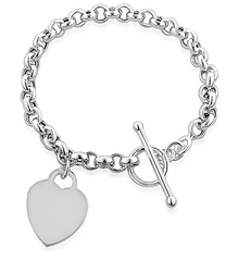 Silver Heart Toggle Bracelet Tiffany Inspired