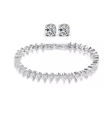 Meghan Markle Style Tennis Bracelet and Earrings Set