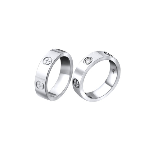 Screw Cross Love Ring Titanium Steel Cartier Style by Designer Inspired Womens Girls Silver