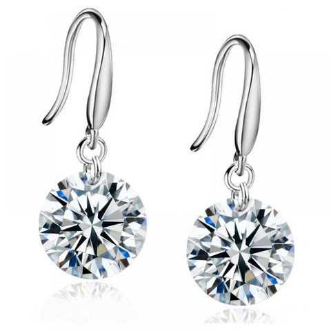 Austrian Crystal Swarovski Elements Drop Earrings Sterling 925 Silver