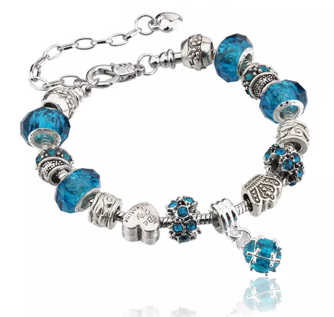 Designer-Inspired-silver-snake-bracelet-murano-glass-crystal-beads-pandora-charms-3mm-womens-girls-gift-blue