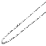 "2mm silver curb chain Sterling 925 Boys Mens Cheap 16"" 18"" 20"" 22"" 24"" 26"" 28"" 30"" Designer Inspired Polished Lobster Clasp"