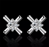 Diamond Cross Earrings Silver 925 20mm