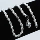 4mm Rope Chain Necklace Silver 925