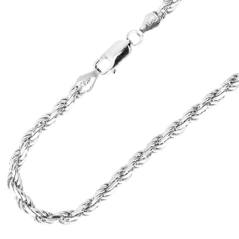 3mm Silver Rope Chain Necklace Diamond Cut