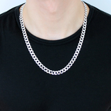 8mm Thick Curb Necklace Chain Sterling Silver 925