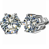 Austrian Crystal AAA 6 Claw Earrings Stud White Gold Plated Sterling 925 Silver