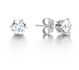 Austrian Crystal AAA 6 Claw Earrings Stud White Gold