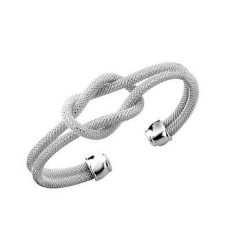 Designer Inspired Knot Mesh Bangle Bracelet Solid Sterling Silver 925 Plated - Designer Inspired Co -