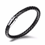 Braided Leather Bracelet with Steel Magnetic Clasp