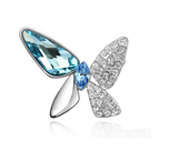Designer Inspired Butterfly Swarovski Brooch Rhodium Plated - Designer Inspired Co - Blue - 1