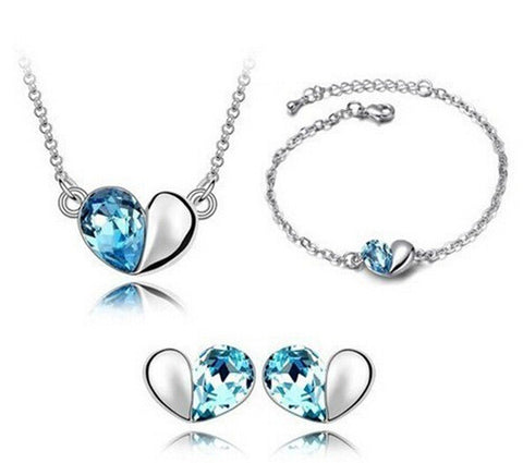 Designer Inspired Heart Necklace Bracelet and Earrings Set with Swarovski Elements - Designer Inspired Co - Blue - 1