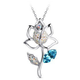 Designer Inspired Lotus Flower Necklace with Swarovski Elements - Designer Inspired Co -  - 1