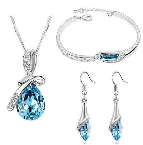 Designer Inspired Swarovski Elements Drop Necklace Bracelet and Earrings Set Silver 925 Plated Austrian Crystals - Designer Inspired Co - Blue - 1