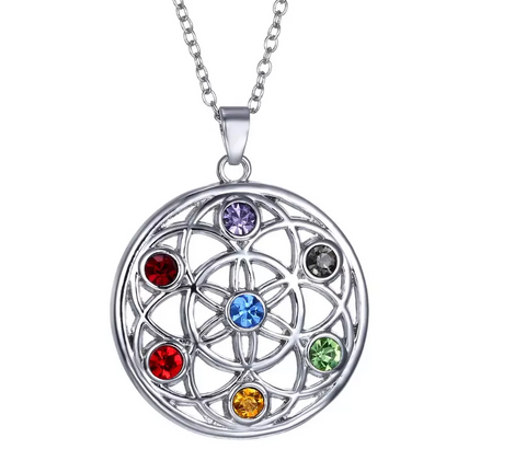 Swarovski Crystal Elements 7 Chakra Healing Stones Eternal Pendant Necklace