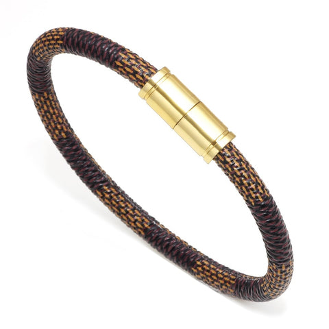 Confidential-Vegan-Leather-Wrap-Bracelet-Designer-Inspired-LV-Style-Louis-Vuitton-Mens-Womens-Luxury-Brand-Gold-Brown