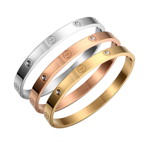 Designer-Inspired-Fashion-Pulseiras-Crystal-Cross-Bracelets-Bangle-for-Women-Cartier-Luxury-Brand-Men-Couple-Stainless-Steel-Bracelet-Gold-3pc -Set
