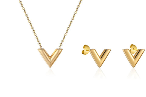 Designer Inspired-V-Charm-Necklace-Pendant Earrings Set -For-Woman-Titanium-steel-Luxury-Brands-Jewelry-LV-Louis-vuitton-Style-Gold 1